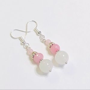 White Agate Rose Quartz & Pink Crystal Earrings